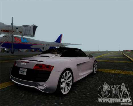 Audi R8 Spyder para GTA San Andreas vista hacia atrás