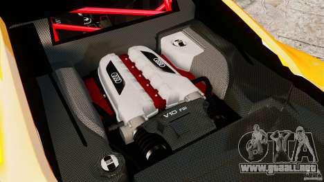 Audi R8 GT Coupe 2011 para GTA 4 vista hacia atrás