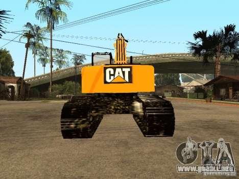 Excavadora CAT para GTA San Andreas vista posterior izquierda