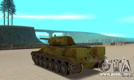 Tanque T-34/76 para GTA San Andreas vista posterior izquierda