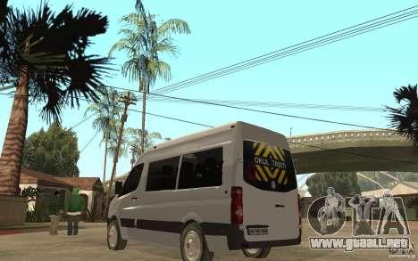 Volkswagen Crafter school bus para GTA San Andreas vista posterior izquierda