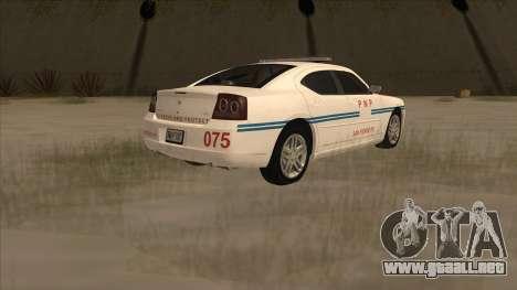 Dodge Charger PNP SAN FIERRO para GTA San Andreas vista posterior izquierda