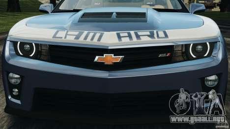 Chevrolet Camaro ZL1 2012 v1.0 Smoke Stripe para GTA 4 ruedas