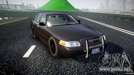 Ford Crown Victoria 2003 v2 FBI para GTA 4 vista hacia atrás