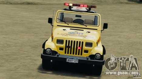 Jeep Wrangler 1988 Beach Patrol v1.1 [ELS] para GTA 4 vista lateral