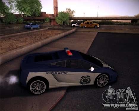 Lamborghini Gallardo LP560-4 Undercover Police para GTA San Andreas vista posterior izquierda