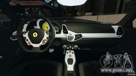 Ferrari 458 Italia 2010 [Key Edition] v1.0 para GTA 4 vista hacia atrás