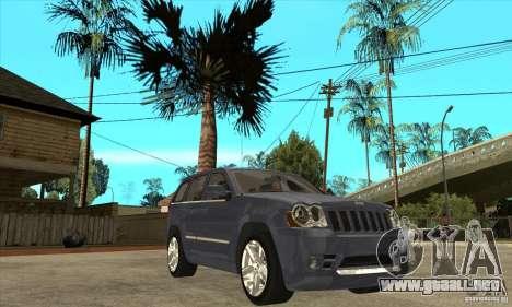 Jeep Grand Cherokee SRT8 v2.0 para GTA San Andreas vista hacia atrás
