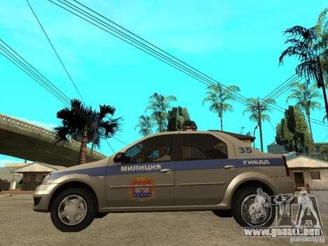 Dacia Logan Police para GTA San Andreas left