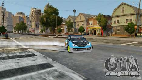 Subaru Impreza WRX STI Rallycross KMC Wheels para GTA 4 Vista posterior izquierda