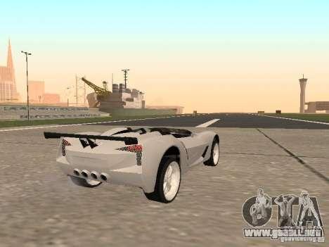 Chevrolet Corvette C7 Spyder para GTA San Andreas vista posterior izquierda