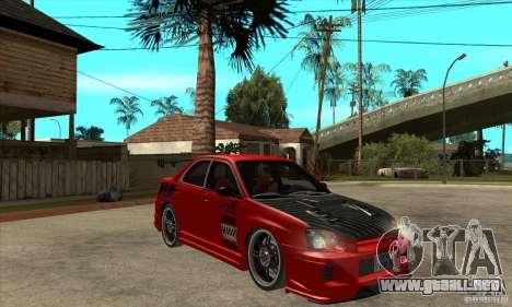 Subaru Impreza 2005 Tuned para GTA San Andreas vista hacia atrás
