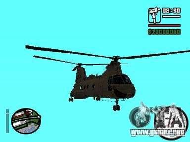 CH-46 SeaKnight para GTA San Andreas vista posterior izquierda