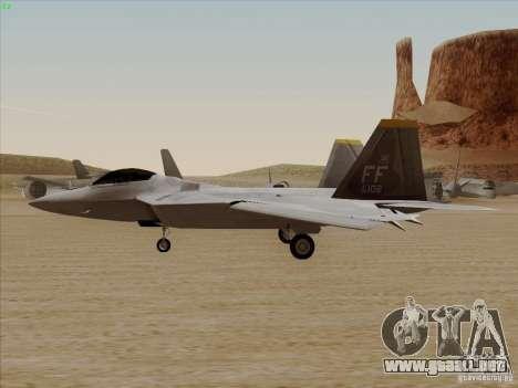 FA22 Raptor para la visión correcta GTA San Andreas
