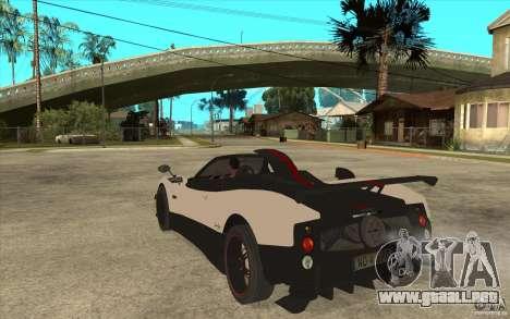 Pagani Zonda Cinque Roadster para GTA San Andreas vista posterior izquierda