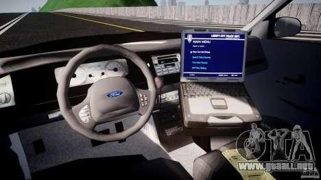 Ford Crown Victoria Raccoon City Police Car para GTA 4 visión correcta