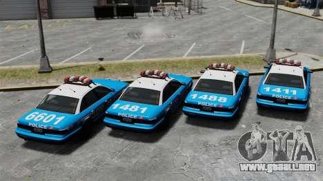 Vapid Police Cruiser ELS para GTA 4 vista hacia atrás