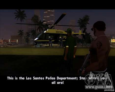 GTA IV Police Helicopter para GTA San Andreas vista posterior izquierda