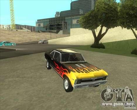 Chevy Nova SS 1969 para GTA San Andreas vista posterior izquierda