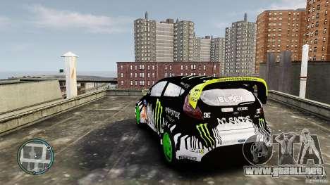 Ken Block Ford Fiesta 2011 para GTA 4 Vista posterior izquierda