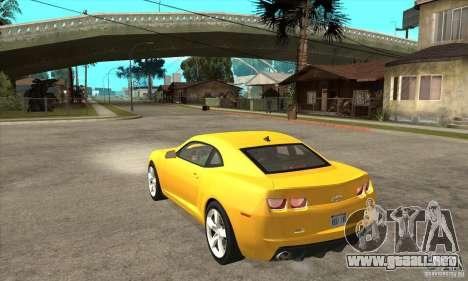 Chevrolet Camaro SS 2010 para GTA San Andreas vista posterior izquierda