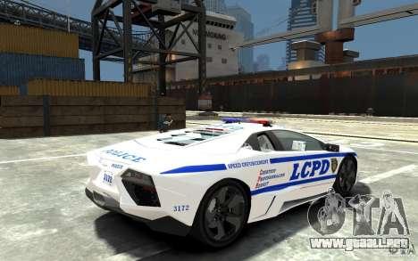 Lamborghini Reventon LCPD para GTA 4 visión correcta