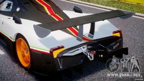 Pagani Zonda R 2009 Italian Stripes para GTA 4 vista desde abajo