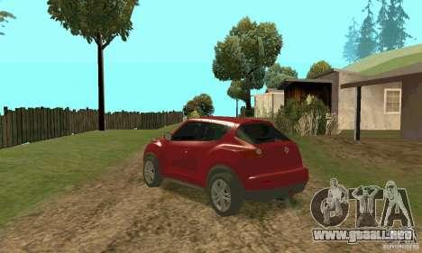 Nissan Juke para GTA San Andreas vista posterior izquierda