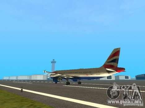 Airbus A320 British Airways para GTA San Andreas vista posterior izquierda