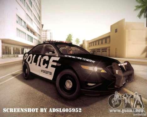 Ford Taurus Police Interceptor 2011 para visión interna GTA San Andreas