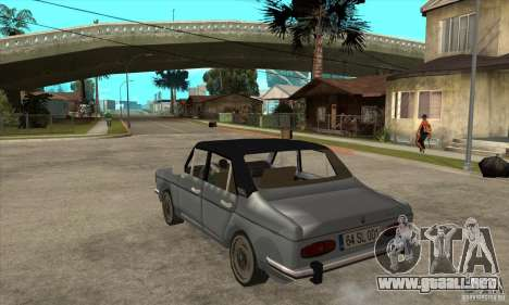 Anadol A1 SL 1975 para GTA San Andreas vista posterior izquierda