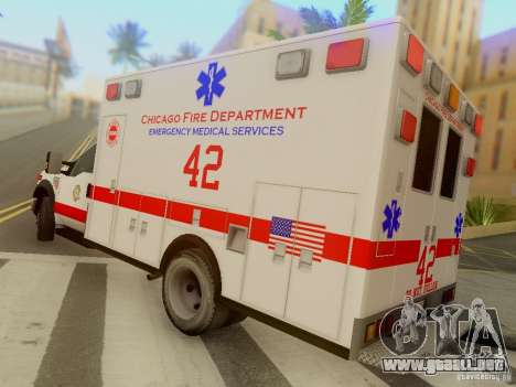 Ford F350 Super Duty Chicago Fire Department EMS para GTA San Andreas vista posterior izquierda