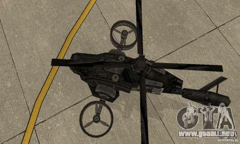 Un helicóptero desde el juego TimeShift Black para GTA San Andreas vista hacia atrás