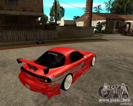 Mazda RX7 FnF para la visión correcta GTA San Andreas