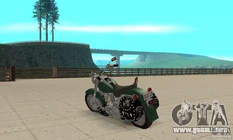 Harley Davidson FLSTF (Fat Boy) v2.0 Skin 1 para GTA San Andreas vista posterior izquierda