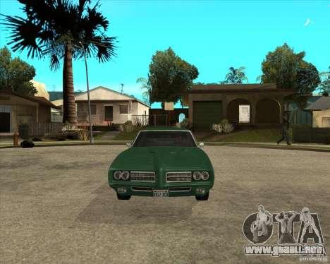 Pontiac GTO 1969 para GTA San Andreas vista hacia atrás