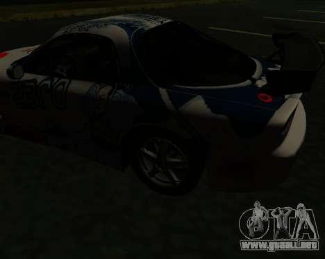 Mazda RX7 para GTA San Andreas vista hacia atrás