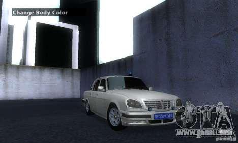 GAZ 31105 Volga abogado para la visión correcta GTA San Andreas