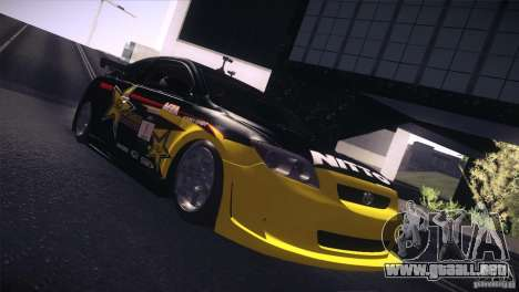 Scion TC Rockstar Team Drift para GTA San Andreas vista posterior izquierda
