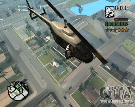 Helicóptero Zaprygivayem para GTA San Andreas sucesivamente de pantalla