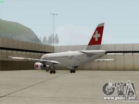 Airbus A319-112 Swiss International Air Lines para vista lateral GTA San Andreas