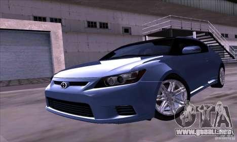 Scion Tc 2012 para GTA San Andreas vista posterior izquierda