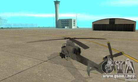Hunter - AH-1Z Cobra para GTA San Andreas vista posterior izquierda