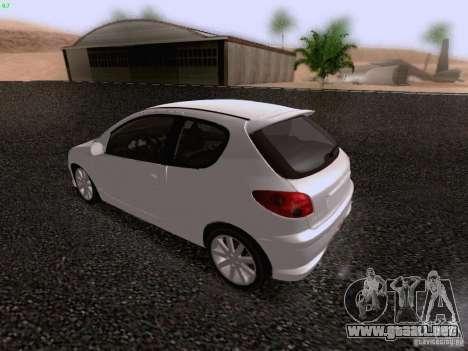 Peugeot 206 para vista lateral GTA San Andreas