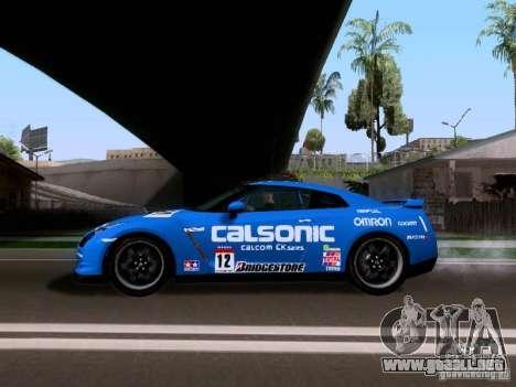 Nissan GTR 2010 Spec-V para GTA San Andreas vista posterior izquierda