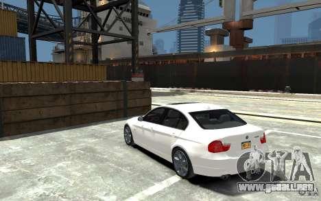 BMW 330i E90 para GTA 4 Vista posterior izquierda