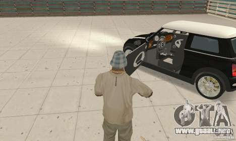 Mini Cooper Hardtop para GTA San Andreas vista hacia atrás