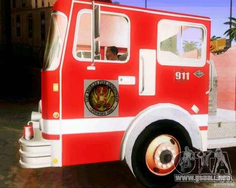 Pumper Firetruck Los Angeles Fire Dept para GTA San Andreas vista hacia atrás