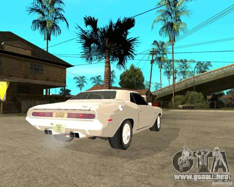Dodge Challenger R/T Hemi 70 para GTA San Andreas vista posterior izquierda