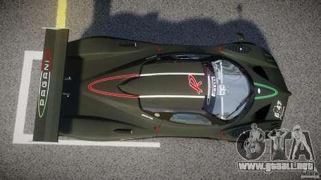 Pagani Zonda R 2009 para GTA 4 vista superior